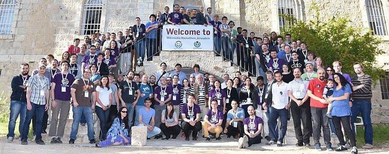 ההאקתון הבינלאומי של תנועת ויקימדיה בירושלים: משתתפי האירוע, שהגיעו אליו מ-18 מדינות שונות.